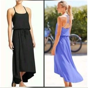 Athleta Novella Dark Blue Dress Maxi Asymmetric
